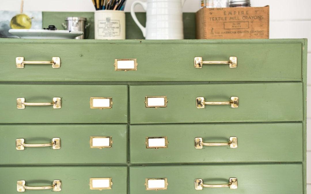 green art cabinet makeover | part 2