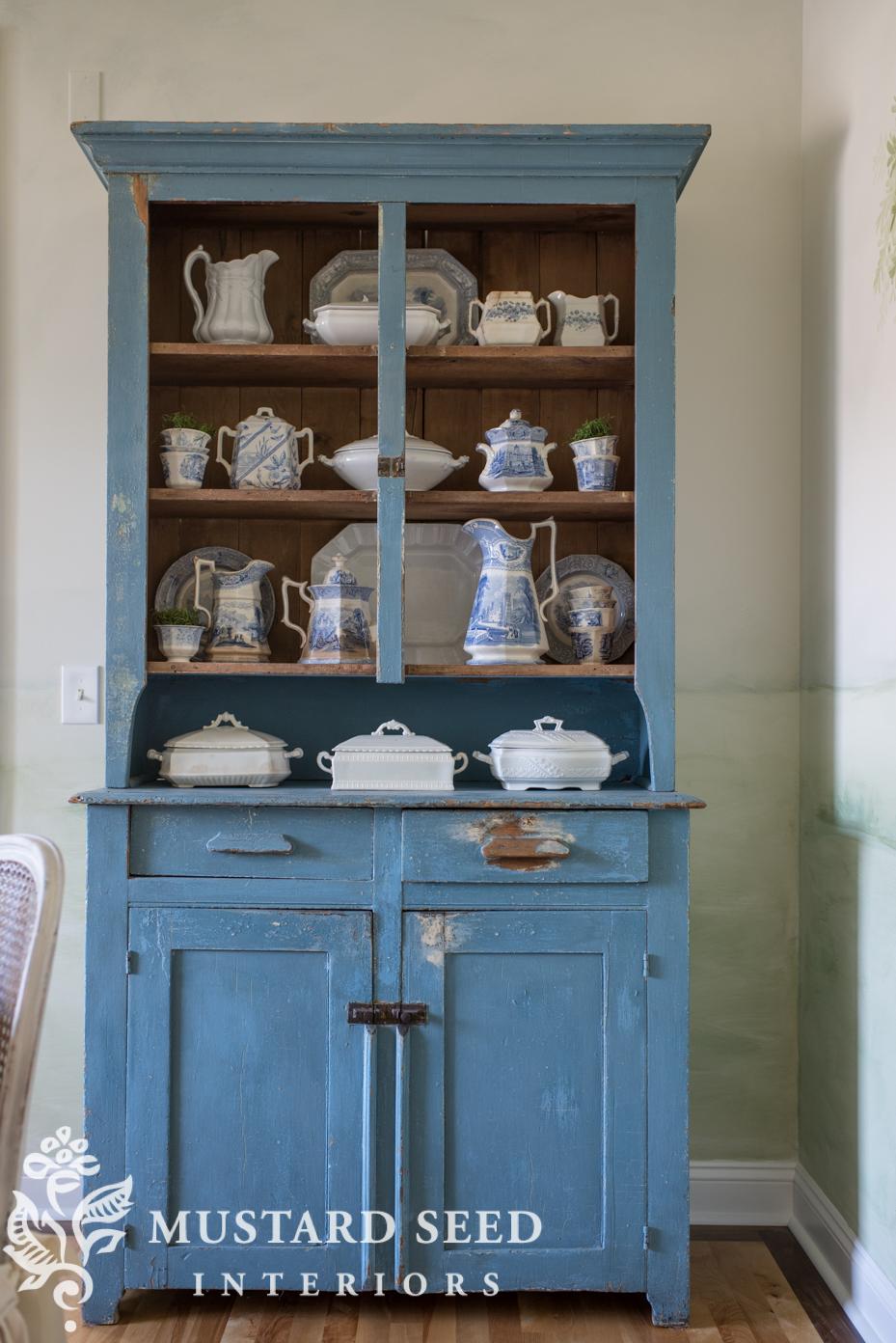 primitive blue hutch | milk paint | miss mustard seed