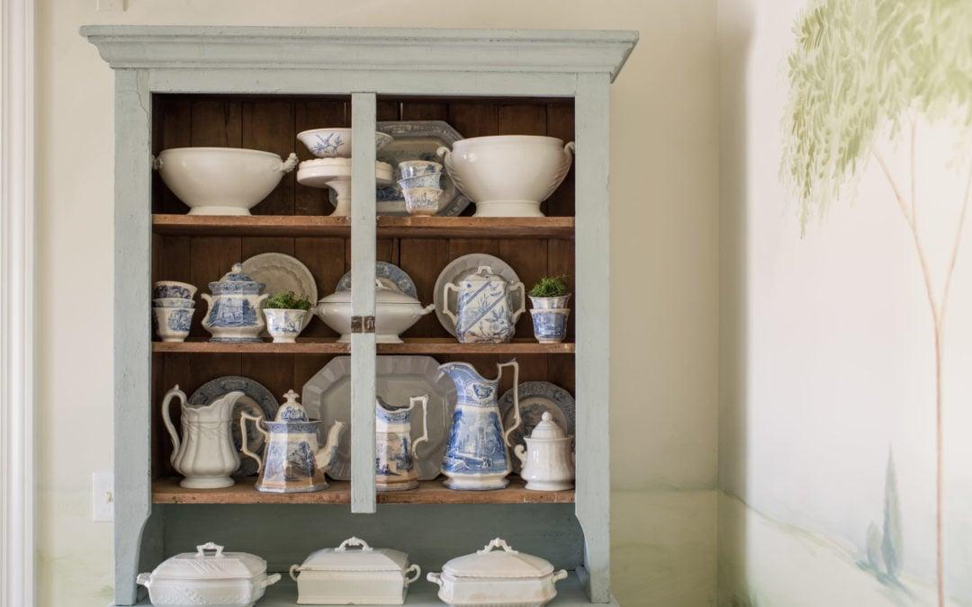 repainting the primitive blue cabinet