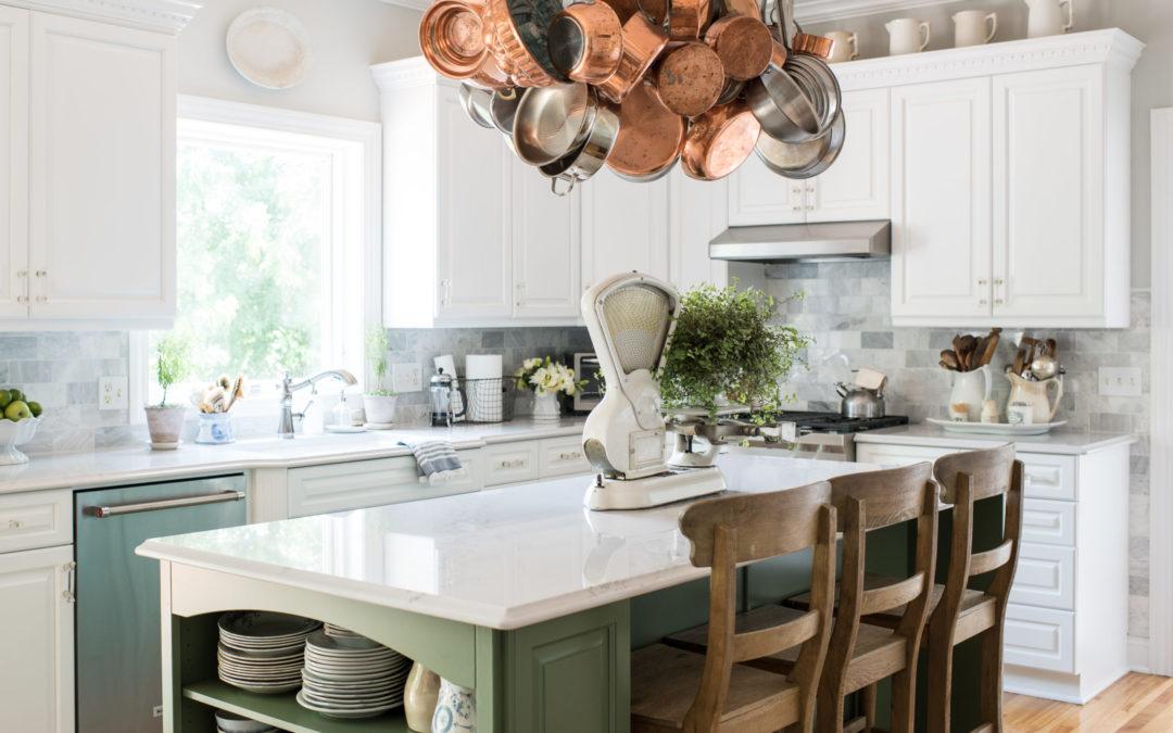 boxwood green kitchen island