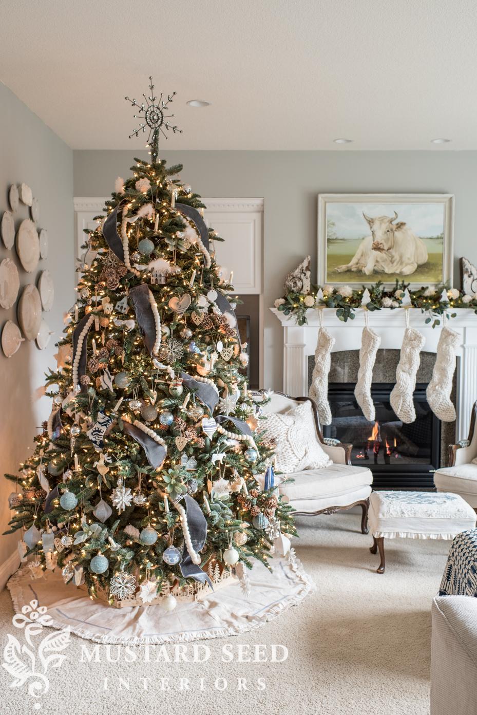 Blue White Christmas Living Room 2018 Miss Mustard Seed