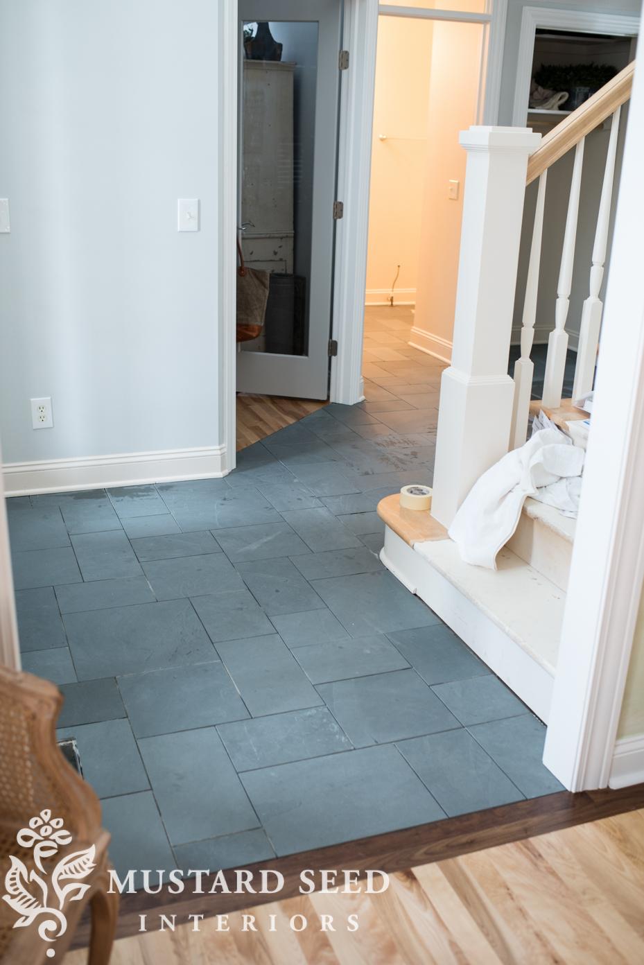Montauk Blue Slate Tile In The Foyer Miss Mustard Seed