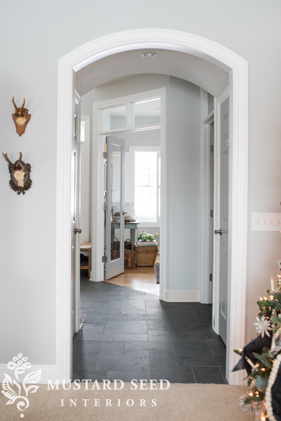 montauk blue slate tile | foyer makeover | miss mustard seed