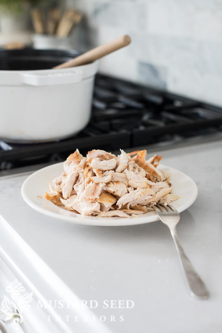 easy chicken and dumplings | shred chicken breast | missmustardseed.com