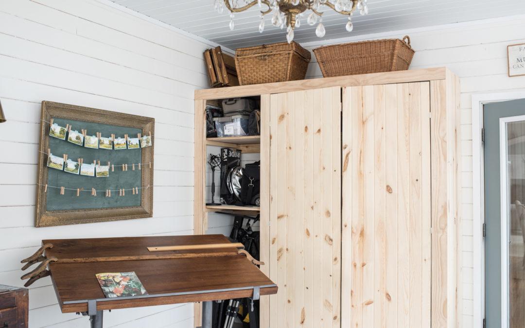 straightening the studio closet doors