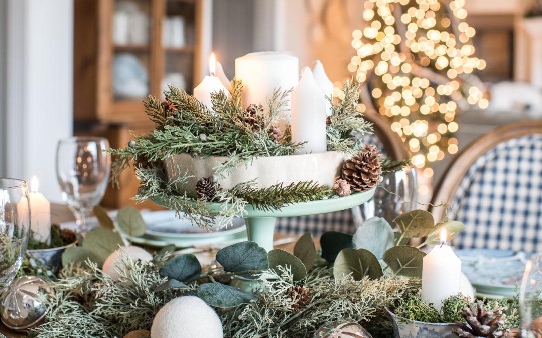 green, blue, & white Christmas table