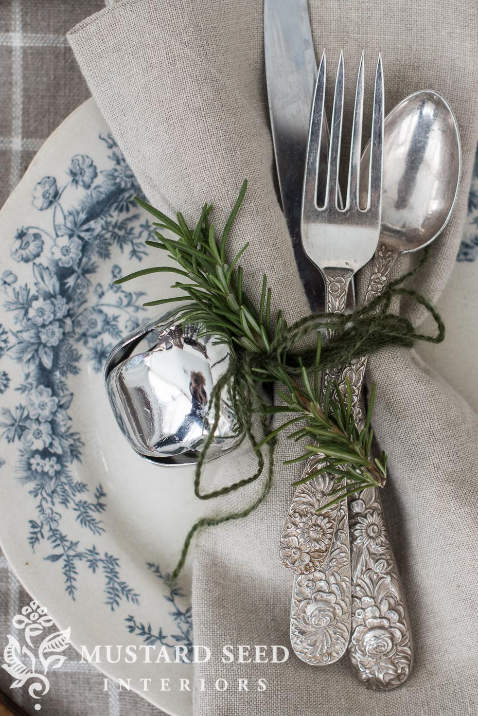 silver bells rosemary napkin holders | decorate with sleigh bells | missmustardseed.com