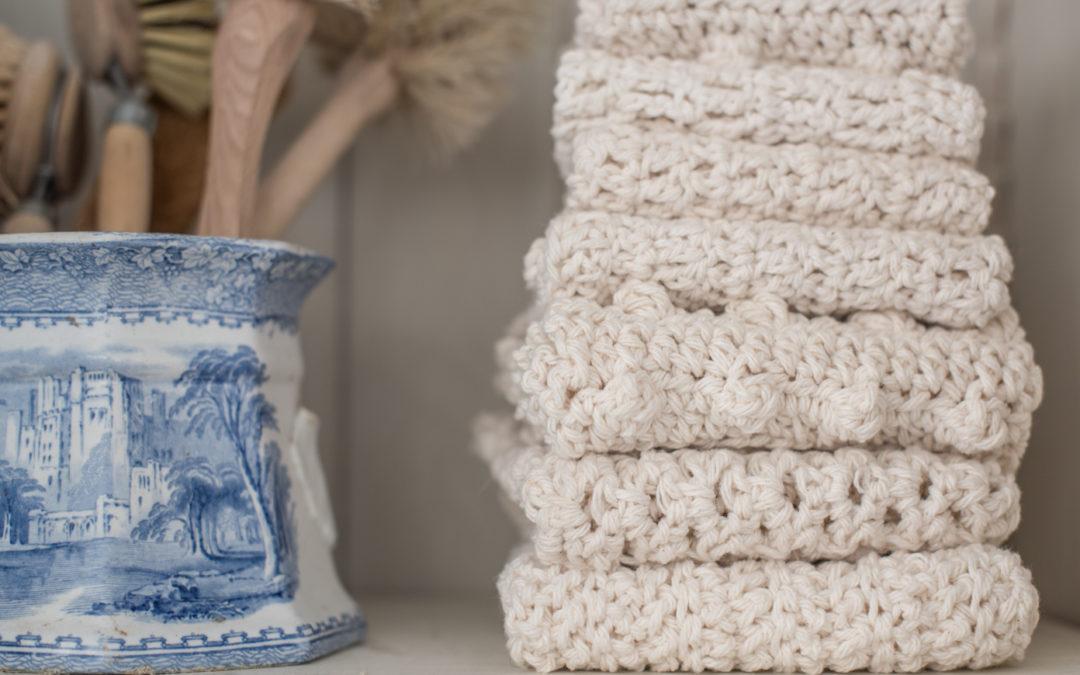 crocheted mittens & dishcloths