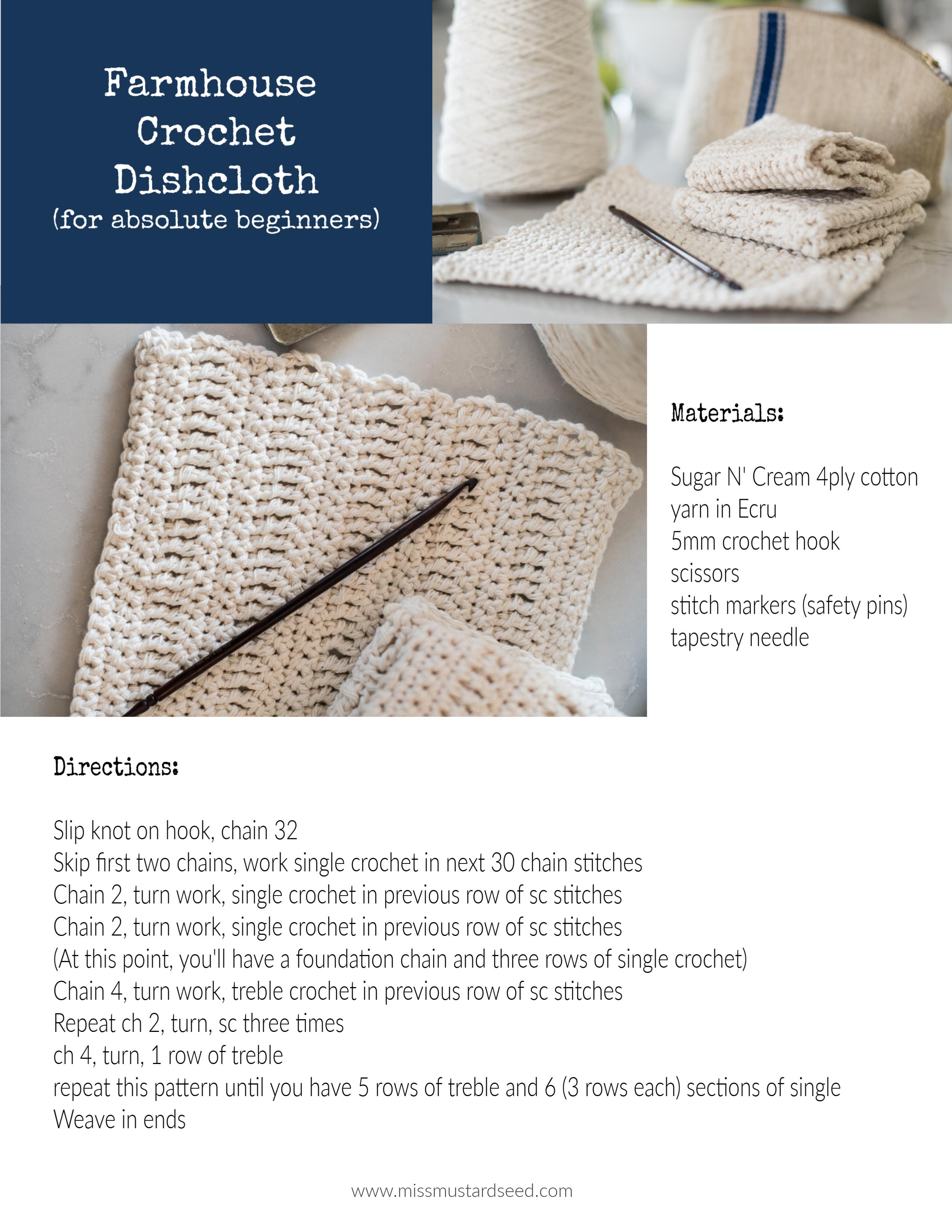 farmhouse crochet dishcloth tutorial beginner