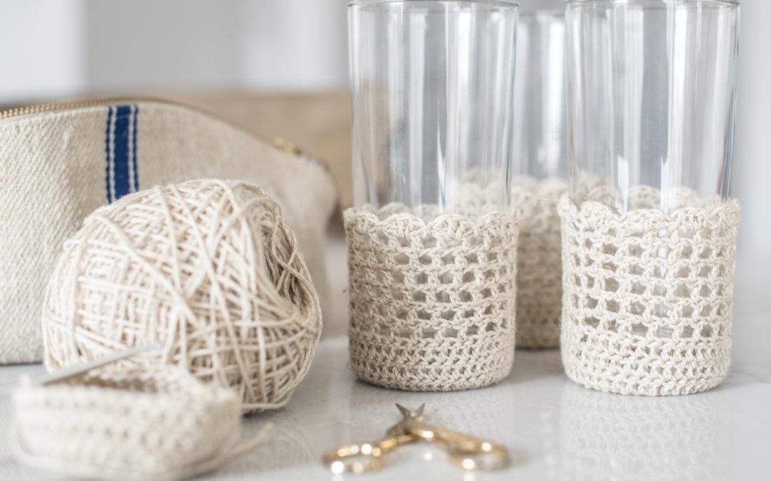 vintage/farmhouse-style glass cozy crochet tutorial