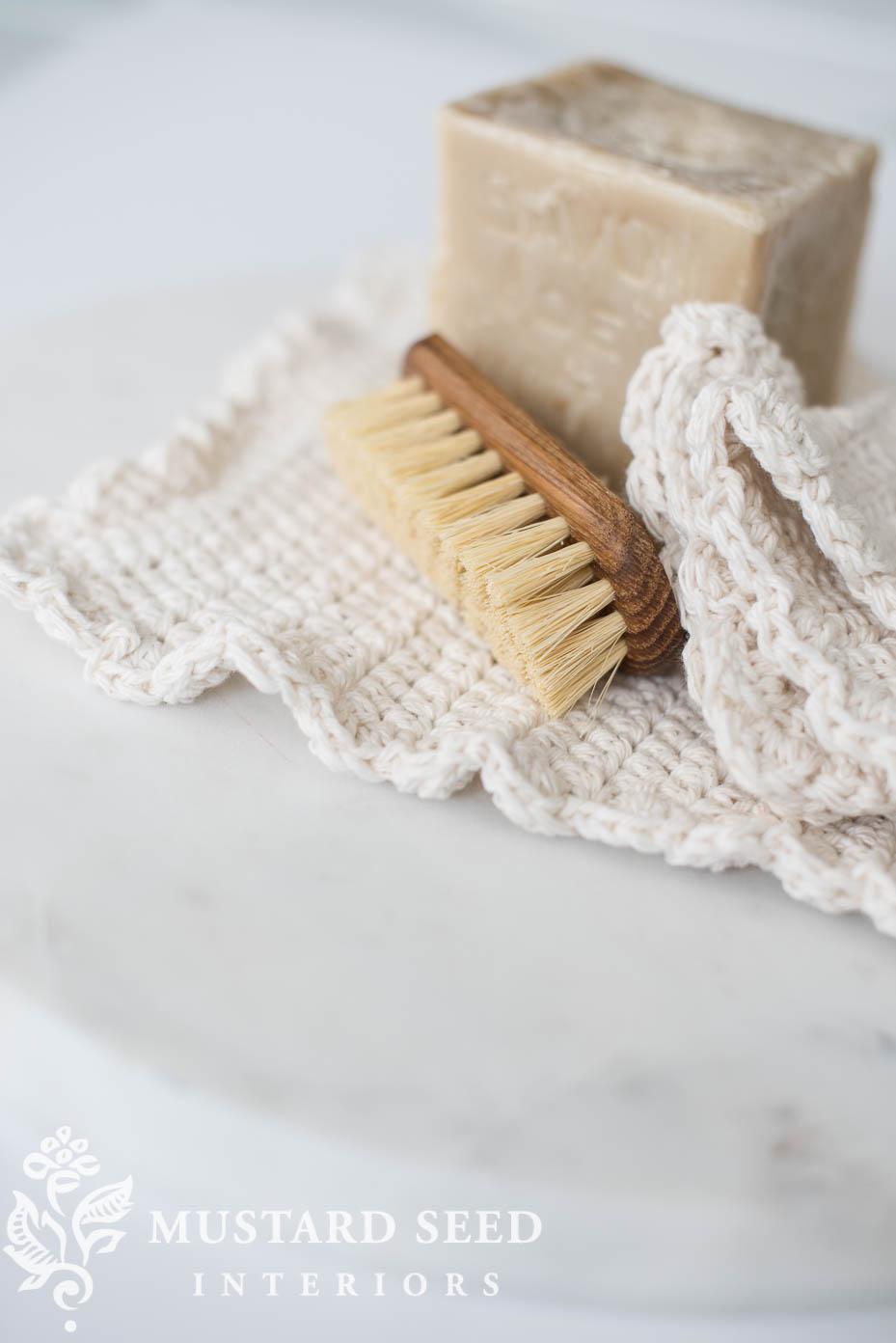 beginner dishcloth crochet tutorial miss mustard seed farmhouse style