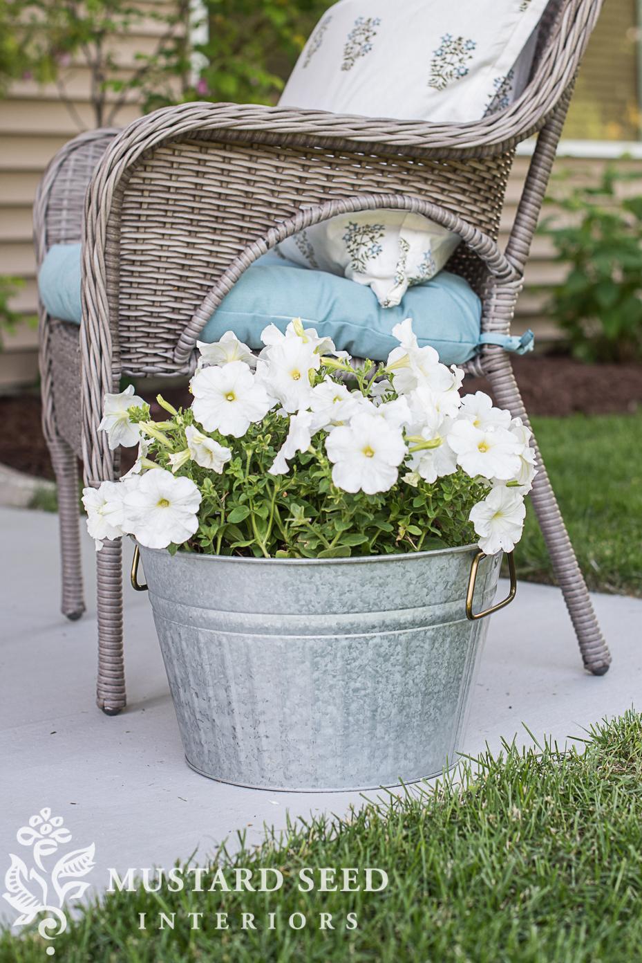 patio makeover miss mustard seed galvanized tub planter