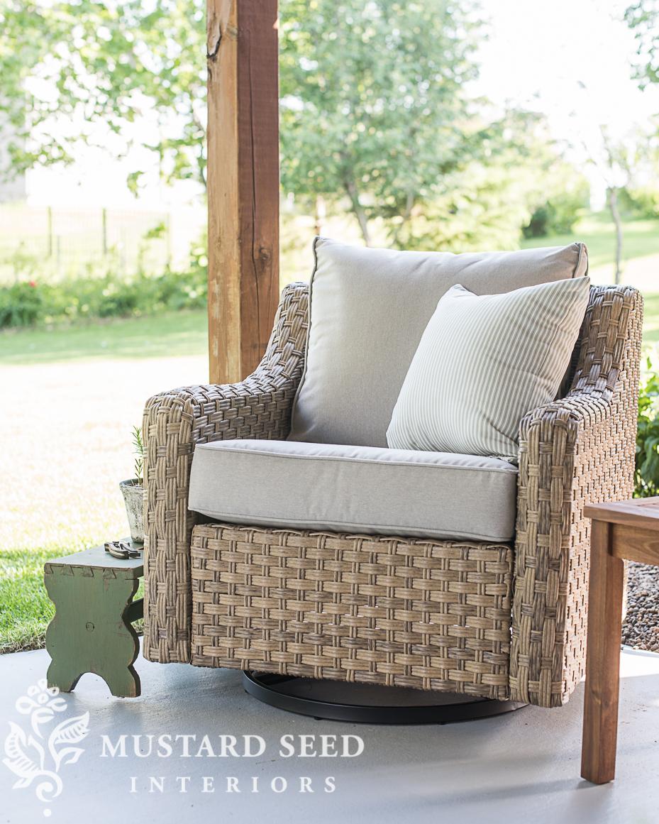 patio makeover miss mustard seed rocker glider chair