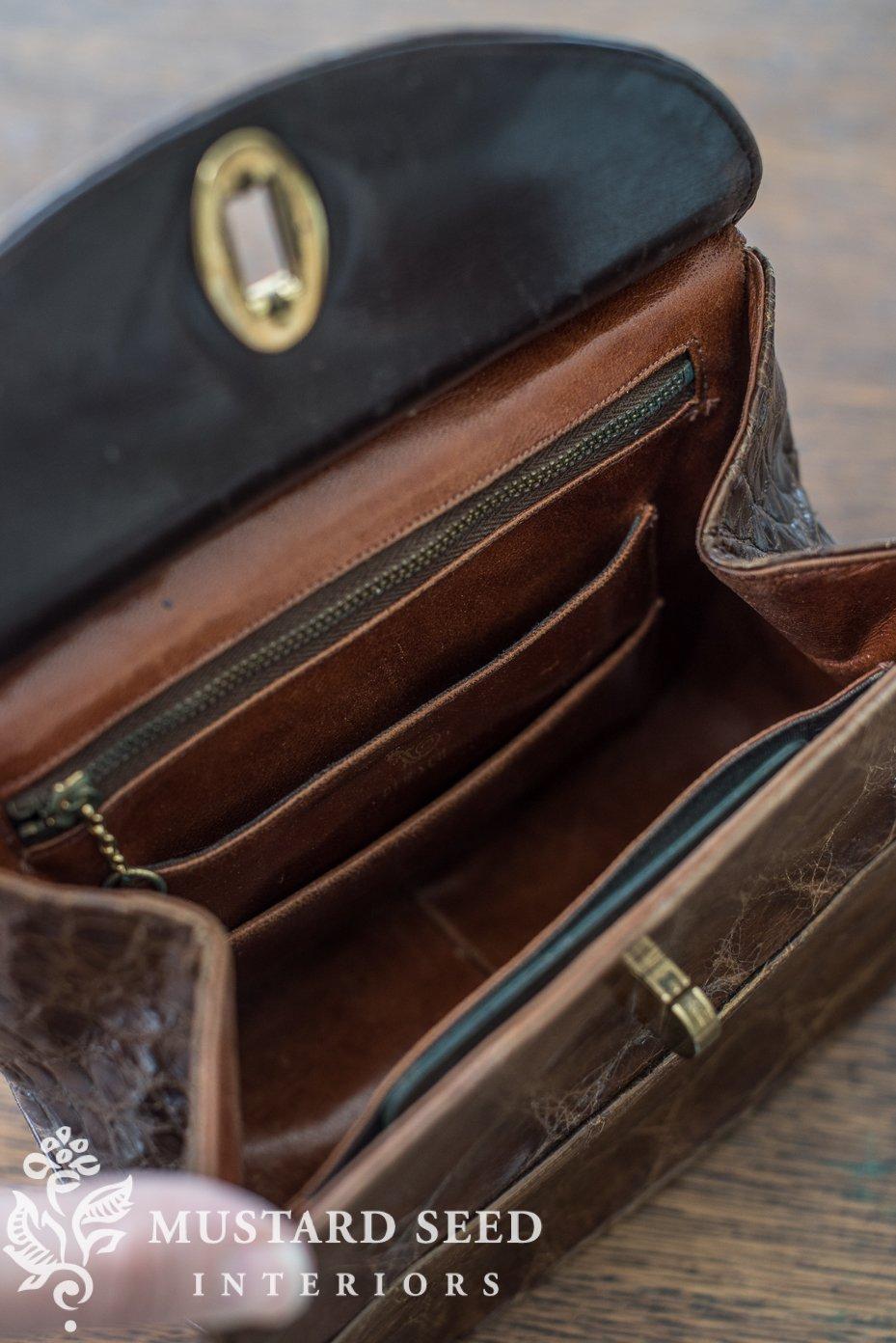 vintage alligator purse miss mustard seed