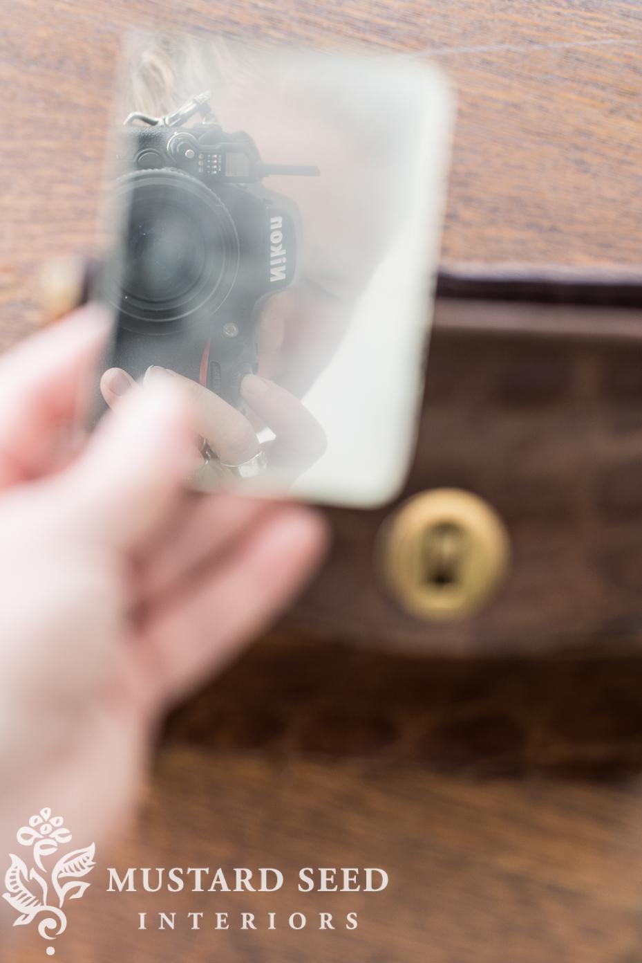 vintage alligator purse mirror miss mustard seed