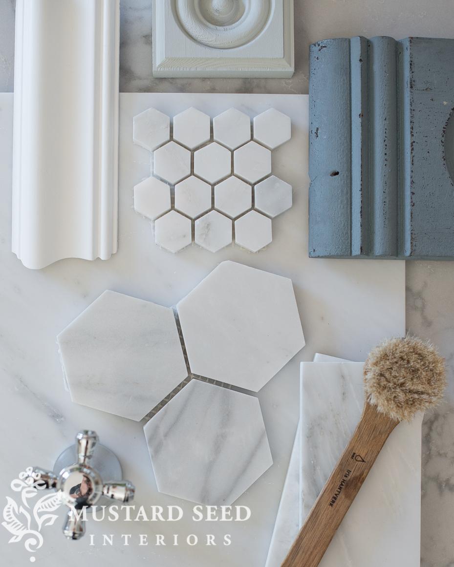 suburban master bathroom makeover marble blue chrome miss mustard seed