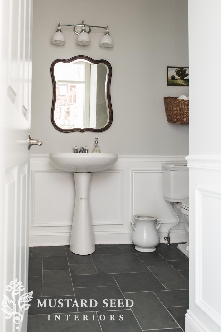 half bathroom makeover miss mustard seed stonington gray blue montauk slate