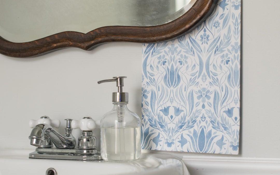 Blue & White Wallpaper for the 1/2 Bath
