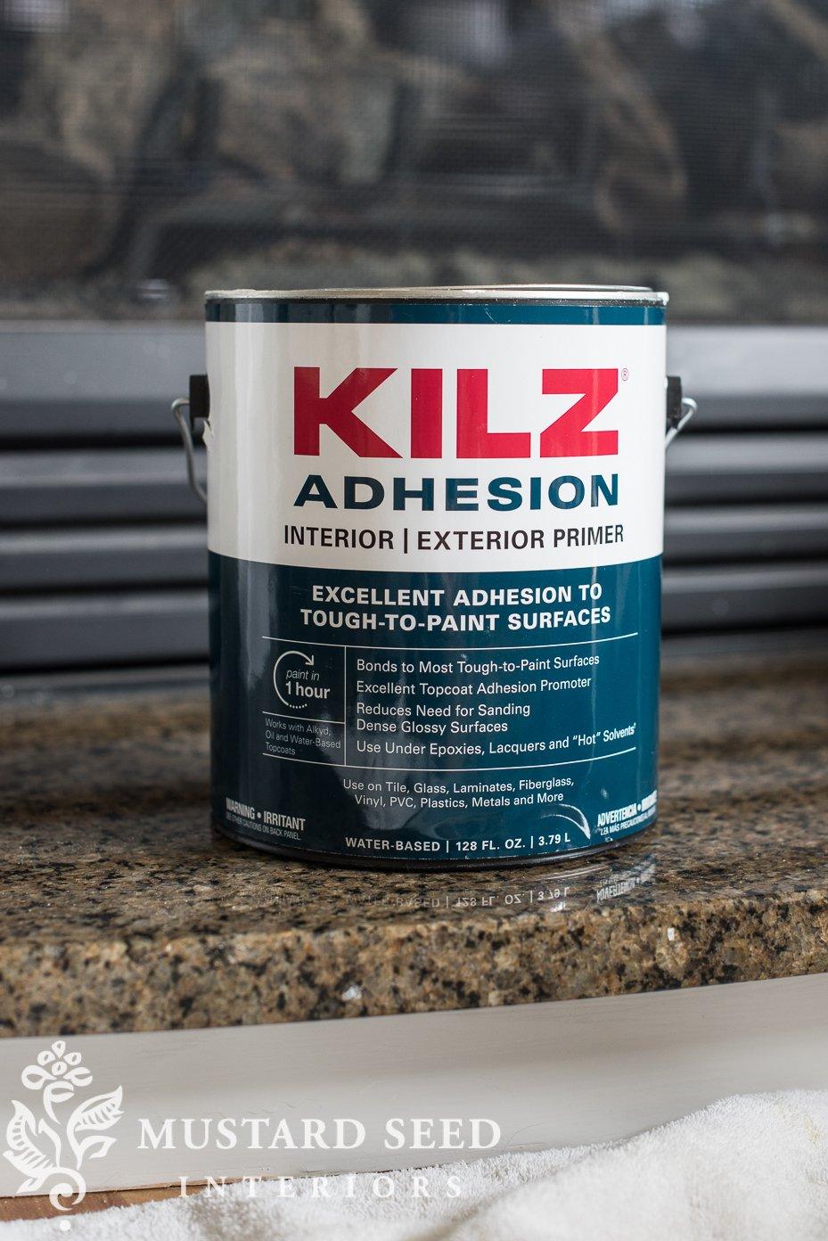 kilz adhesion primer on granite fireplace surround | miss mustard seed