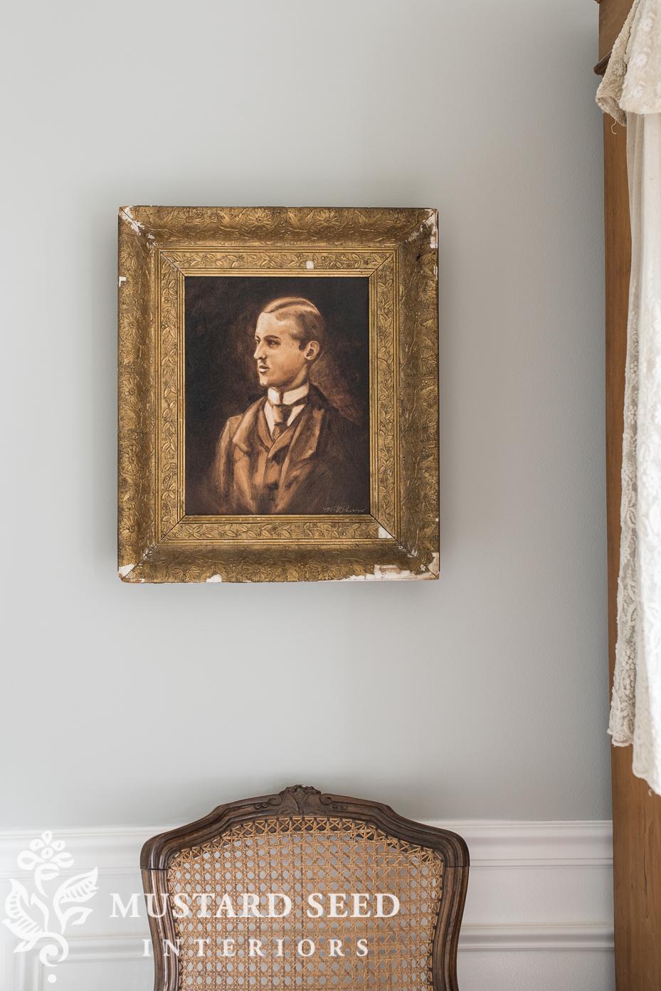 oil painting | portrait | antique frame | stonington gray | miss mustard seed