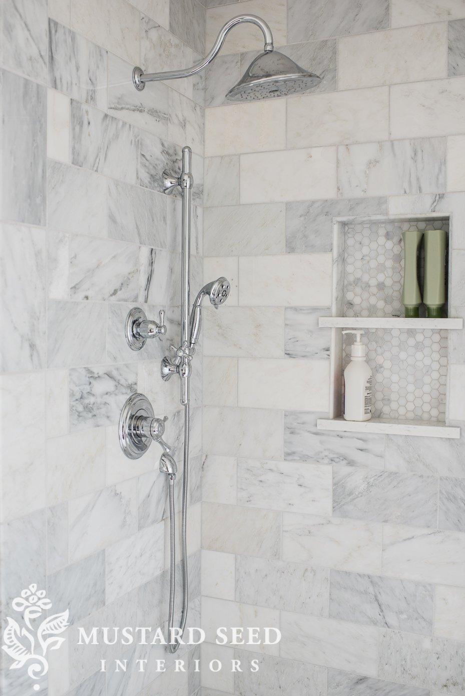 suburban master bathroom makeover | delta shower system | 6x12 marble | miss mustard seed