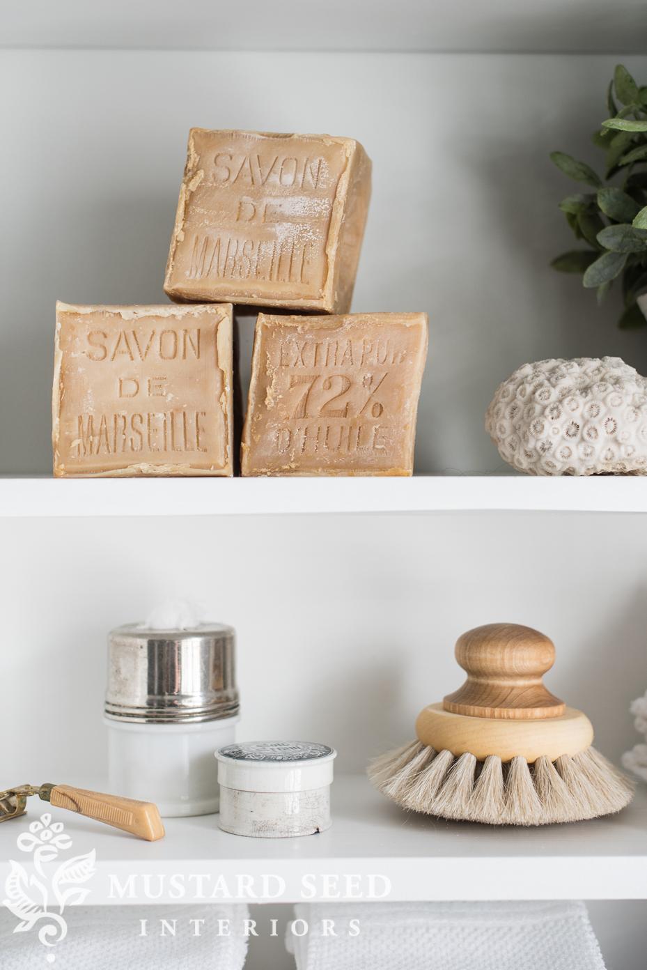 suburban master bathroom makeover | bathroom shelf | miss mustard seed