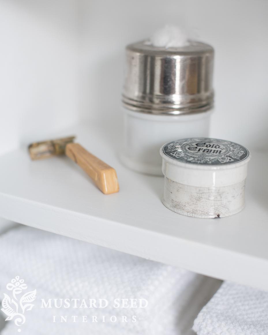 painted bathroom shelf   miss mustard seed