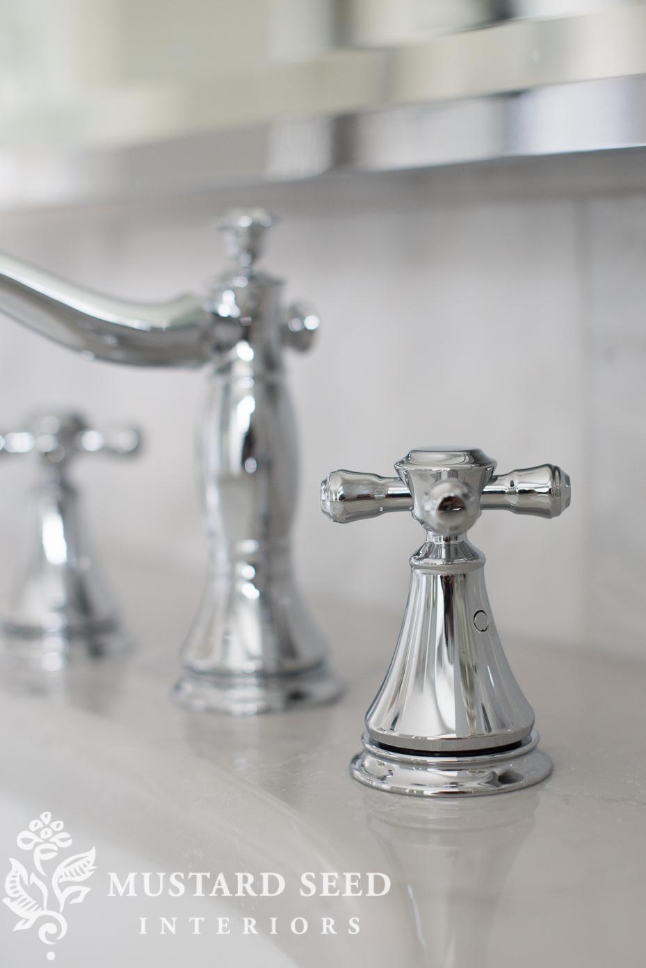 suburban master bathroom makeover | delta cassidy faucet | miss mustard seed