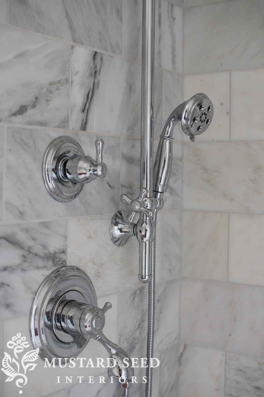 suburban master bathroom makeover | delta shower system | 6 x12 marble tile | miss mustard seed