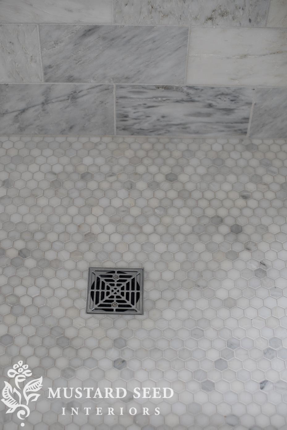 "suburban master bathroom makeover | 1"" hex marble | miss mustard seed"