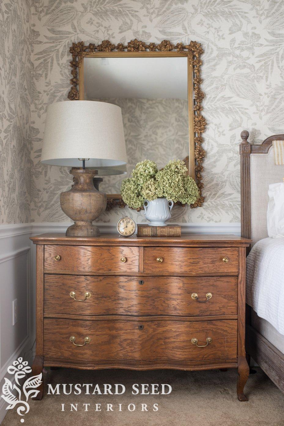 guest room   antique oak dresser   wallpaper   miss mustard seed