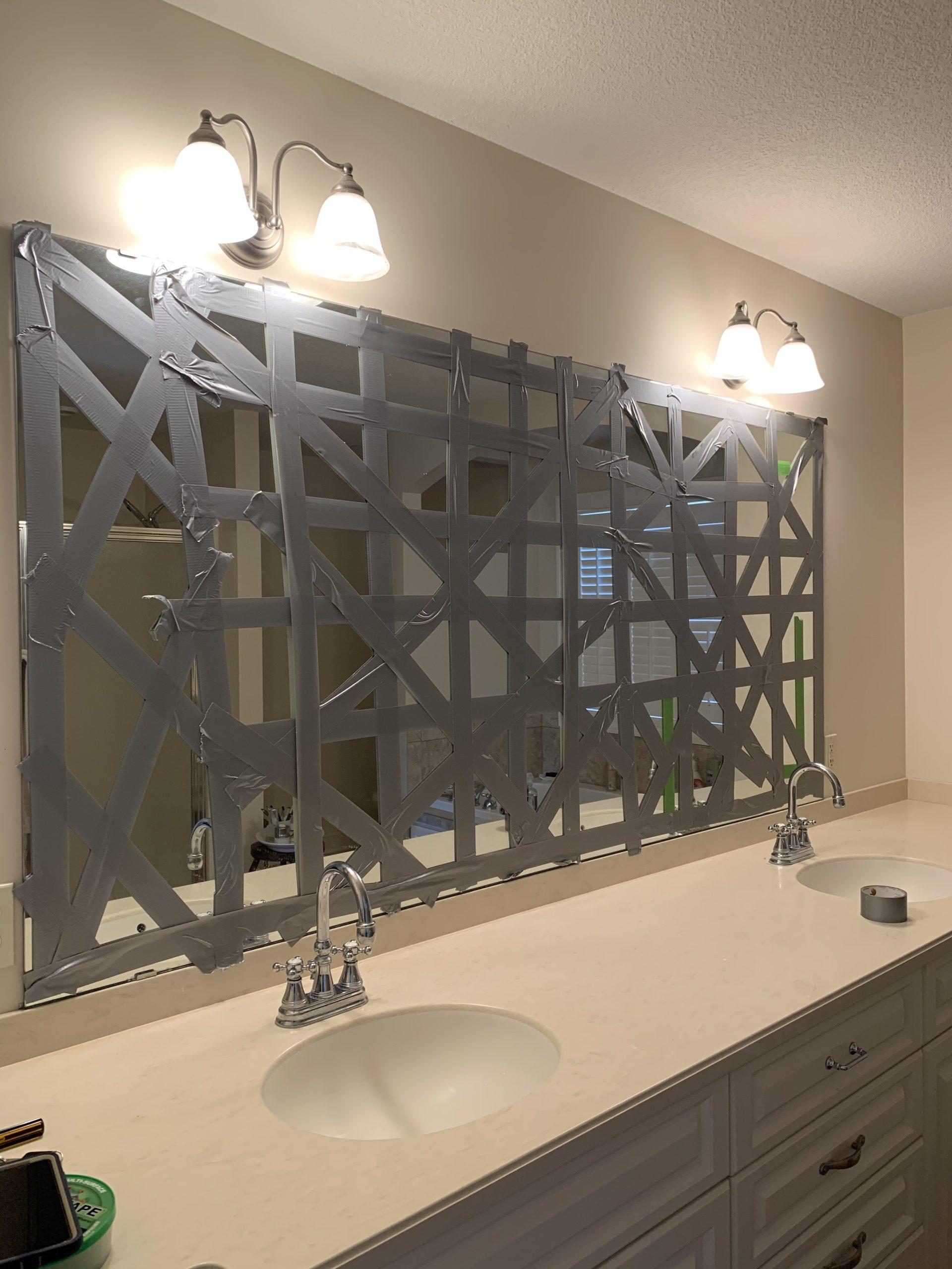 removing a bathroom mirror | miss mustard seed