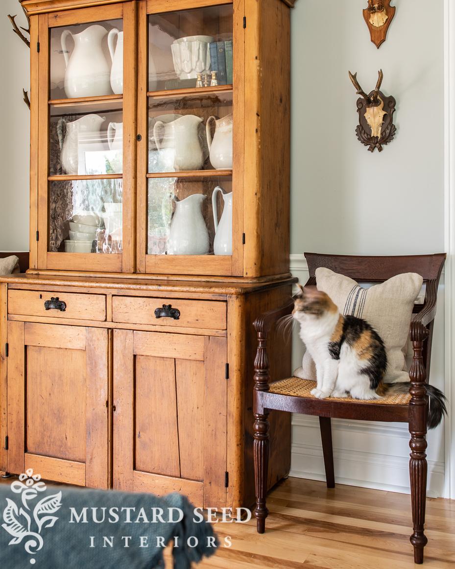 antique pine hutch   raffles British colonial cane chairs   stonington gray   miss mustard seed