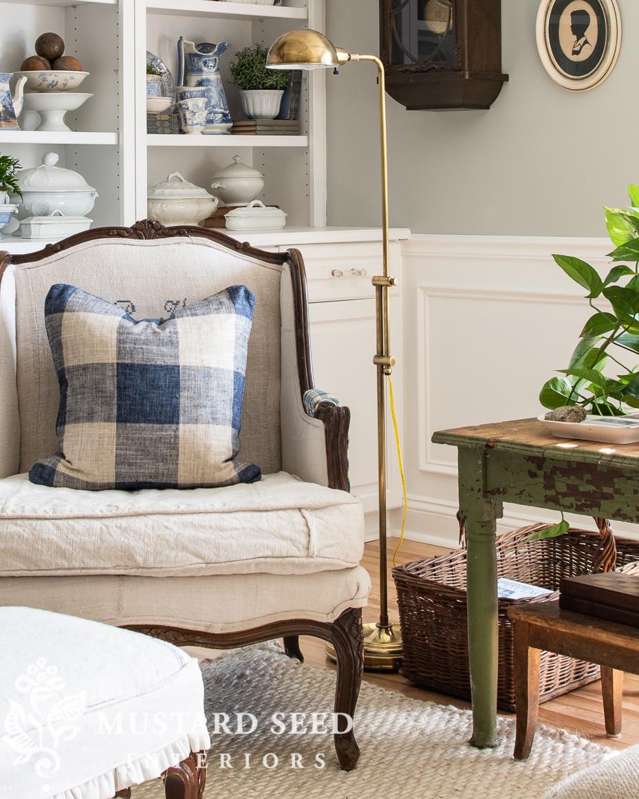 brass floor lamp | bergere chair | stonington gray | home decorating | miss mustard seed