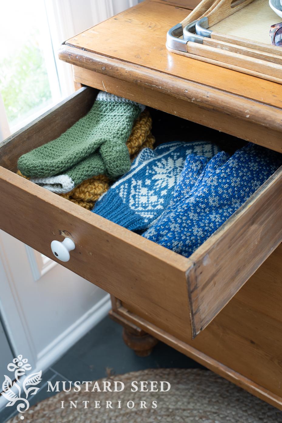 mittens   antique pine chest   miss mustard seed