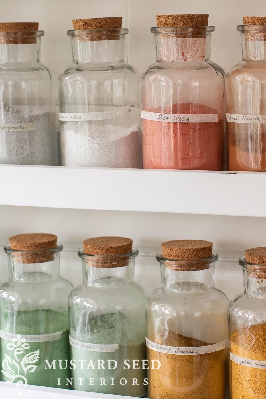 art studio | picture ledges | pigment bottles | paint pots | antique easel | miss mustard seed