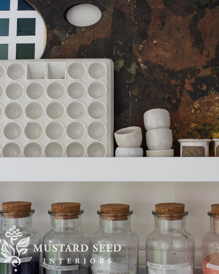 art studio | picture ledges | pigment bottles | ironstone palette | paint pots | antique easel | miss mustard seed