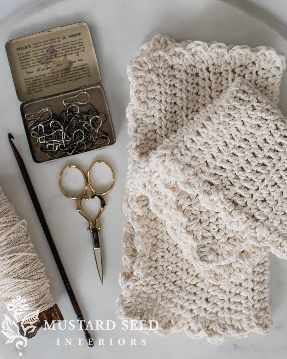 farmhouse style crochet dishcloth for beginners | miss mustard seed