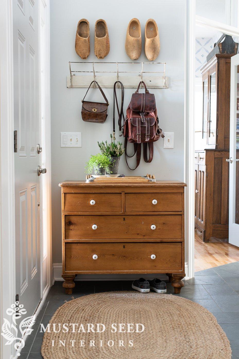 foyer   antique pine chest   miss mustard seed
