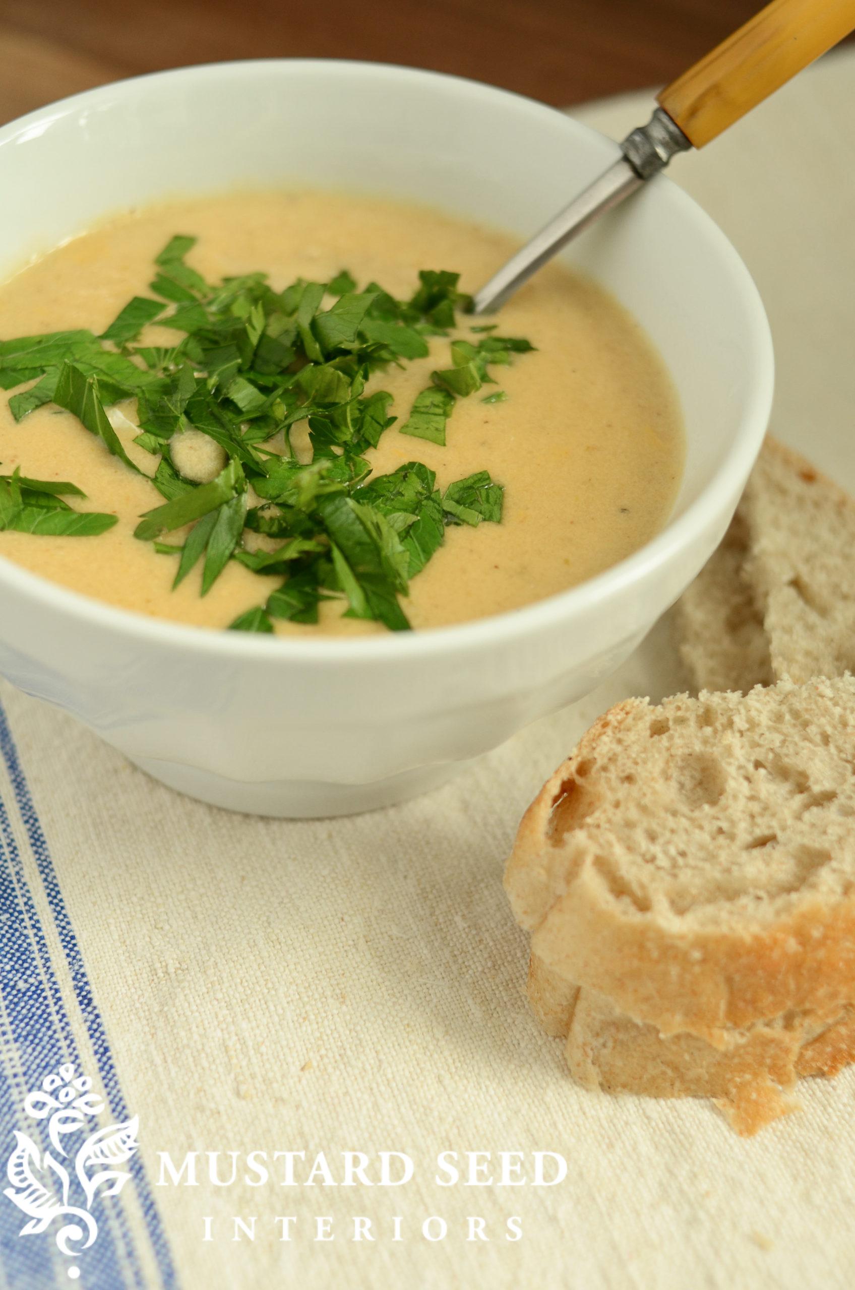 creamy cauliflower soup recipe   miss mustard seed