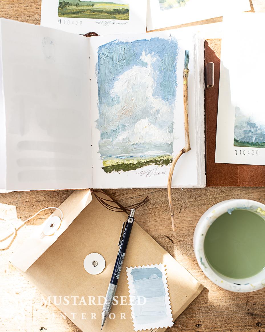 homemade art brush   acrylic landscape painting   miss mustard seed