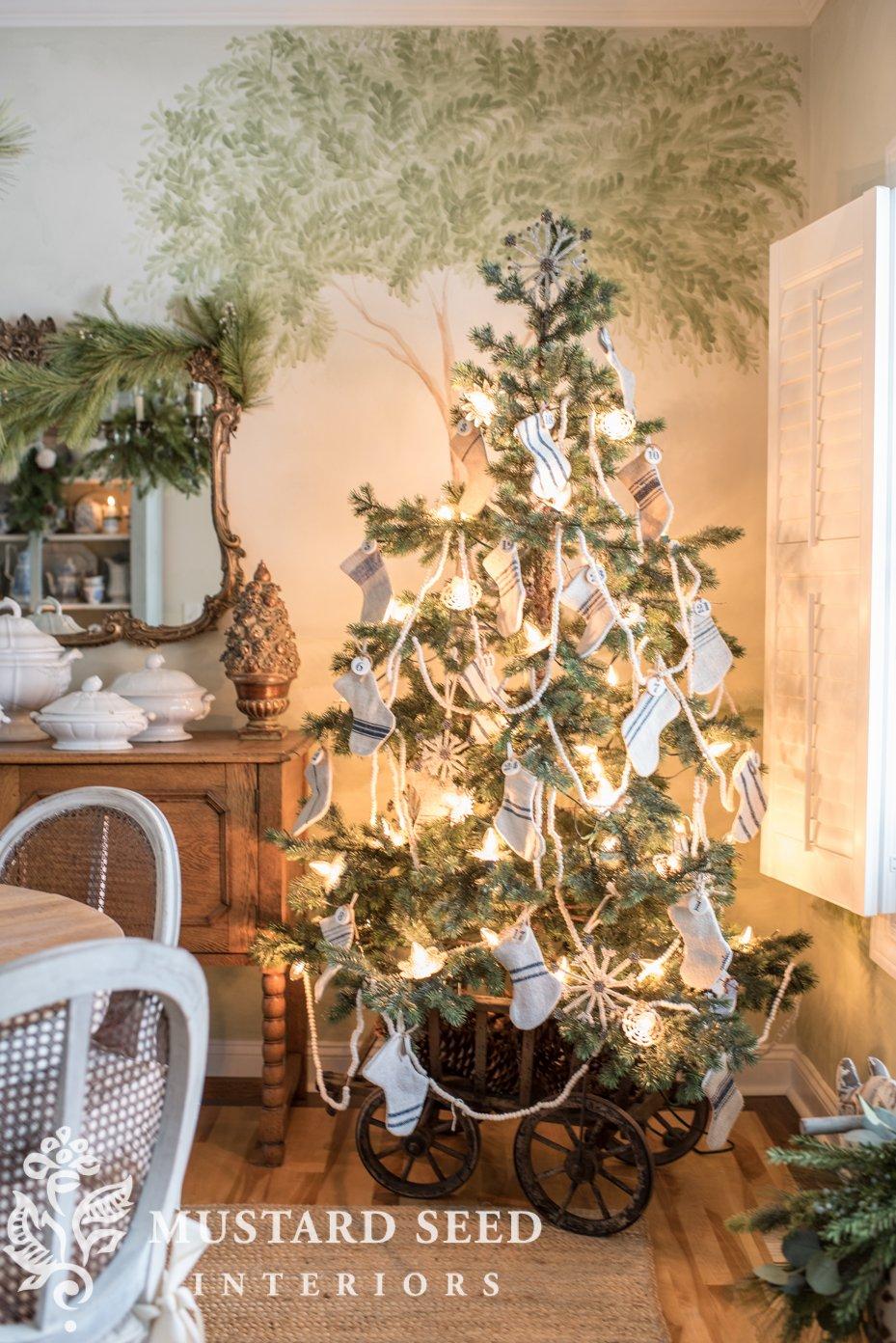 christmas tree in goat cart   mini grain sack stockings   miss mustard seed