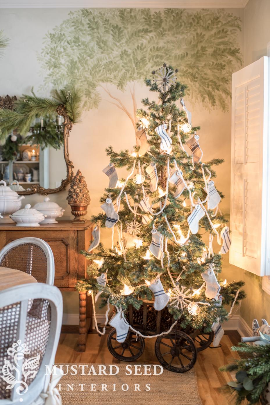 christmas tree in goat cart | mini grain sack stockings | miss mustard seed