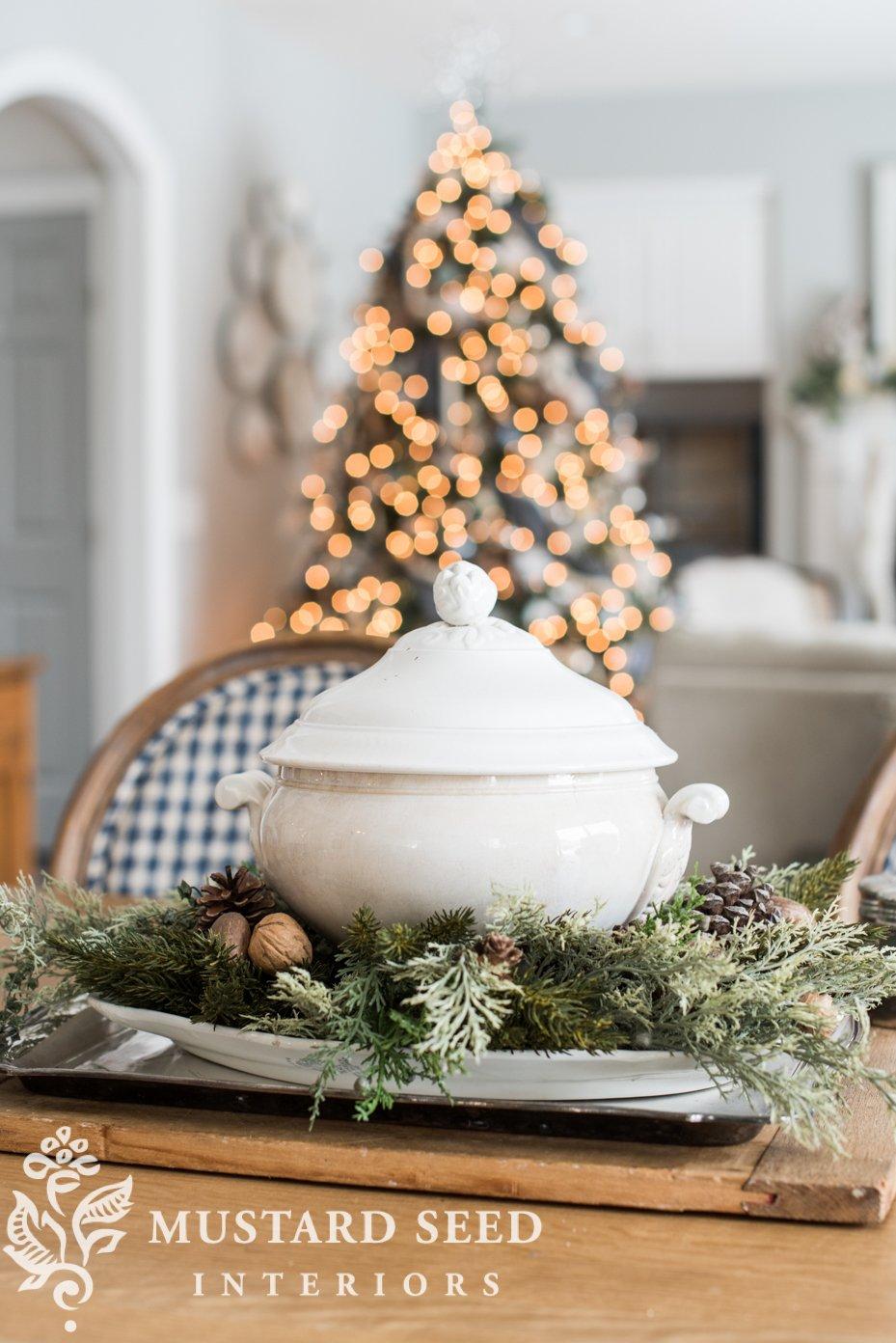 white ironstone tureen   christmas decorating ideas   miss mustard seed