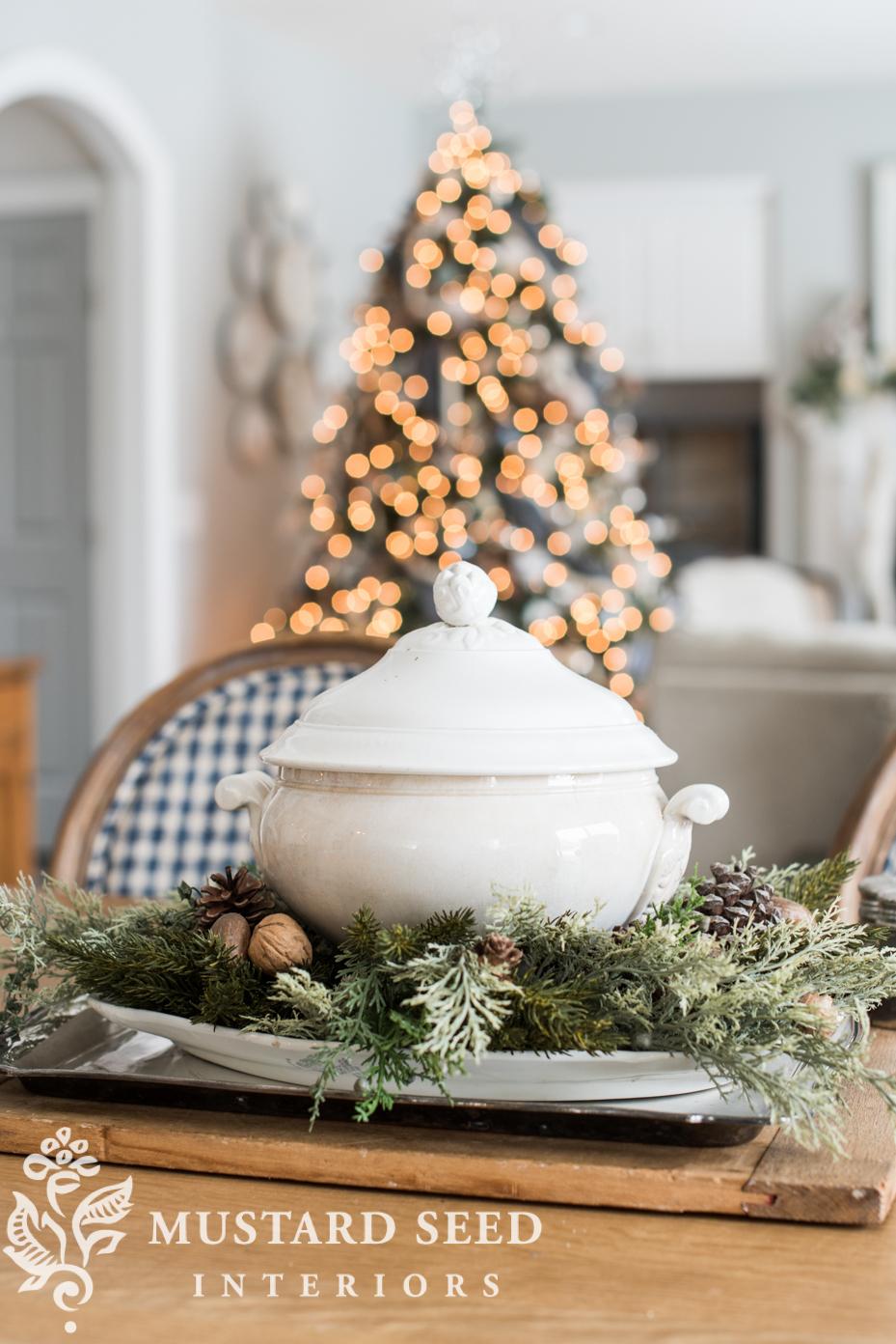white ironstone tureen | christmas decorating ideas | miss mustard seed