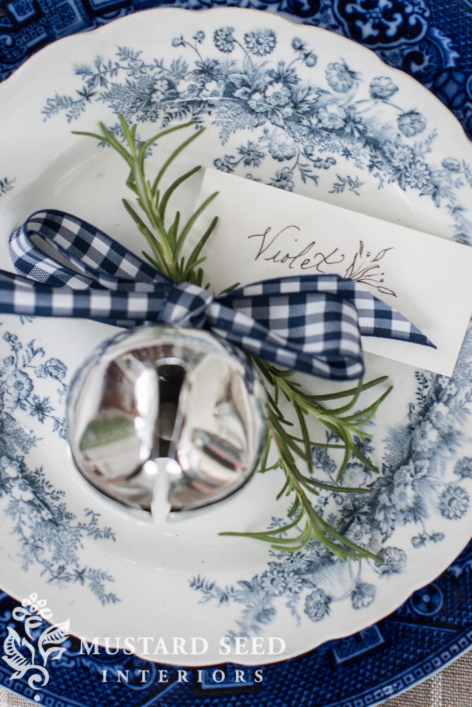 blue checked ribbon   holiday decor   miss mustard seed