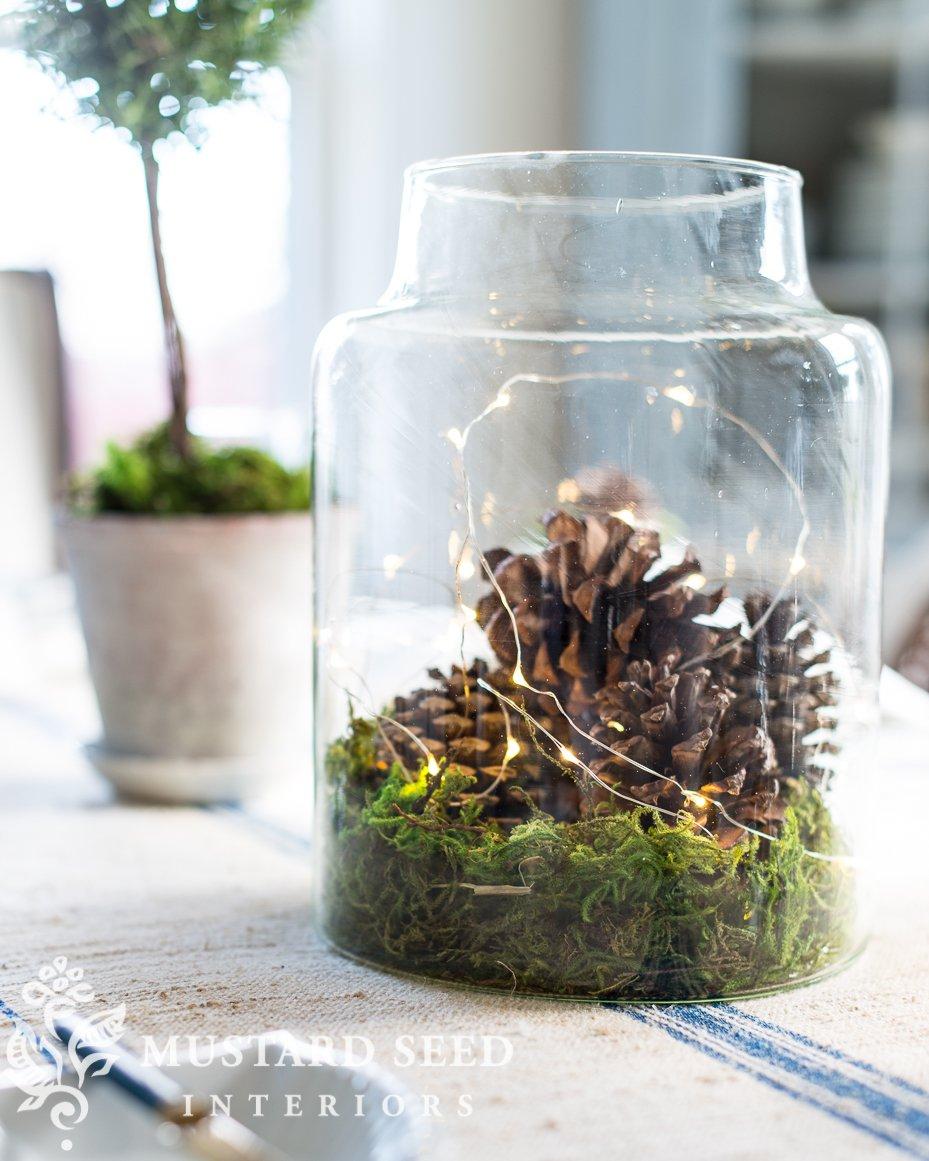 antique jar centerpiece   holiday decor   miss mustard seed