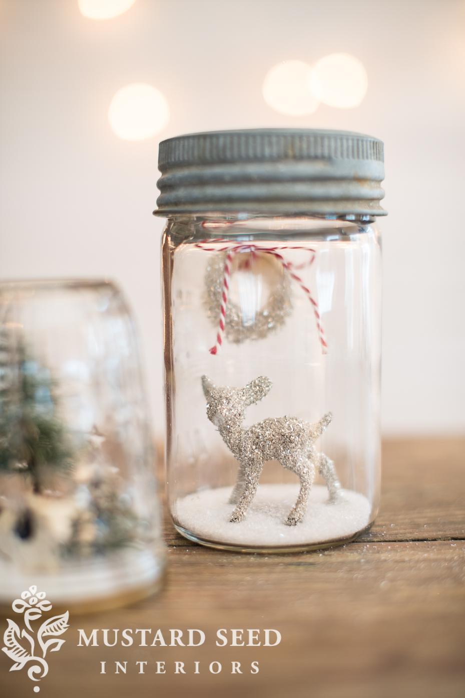 mason jar snow globe   holiday decor   miss mustard seed