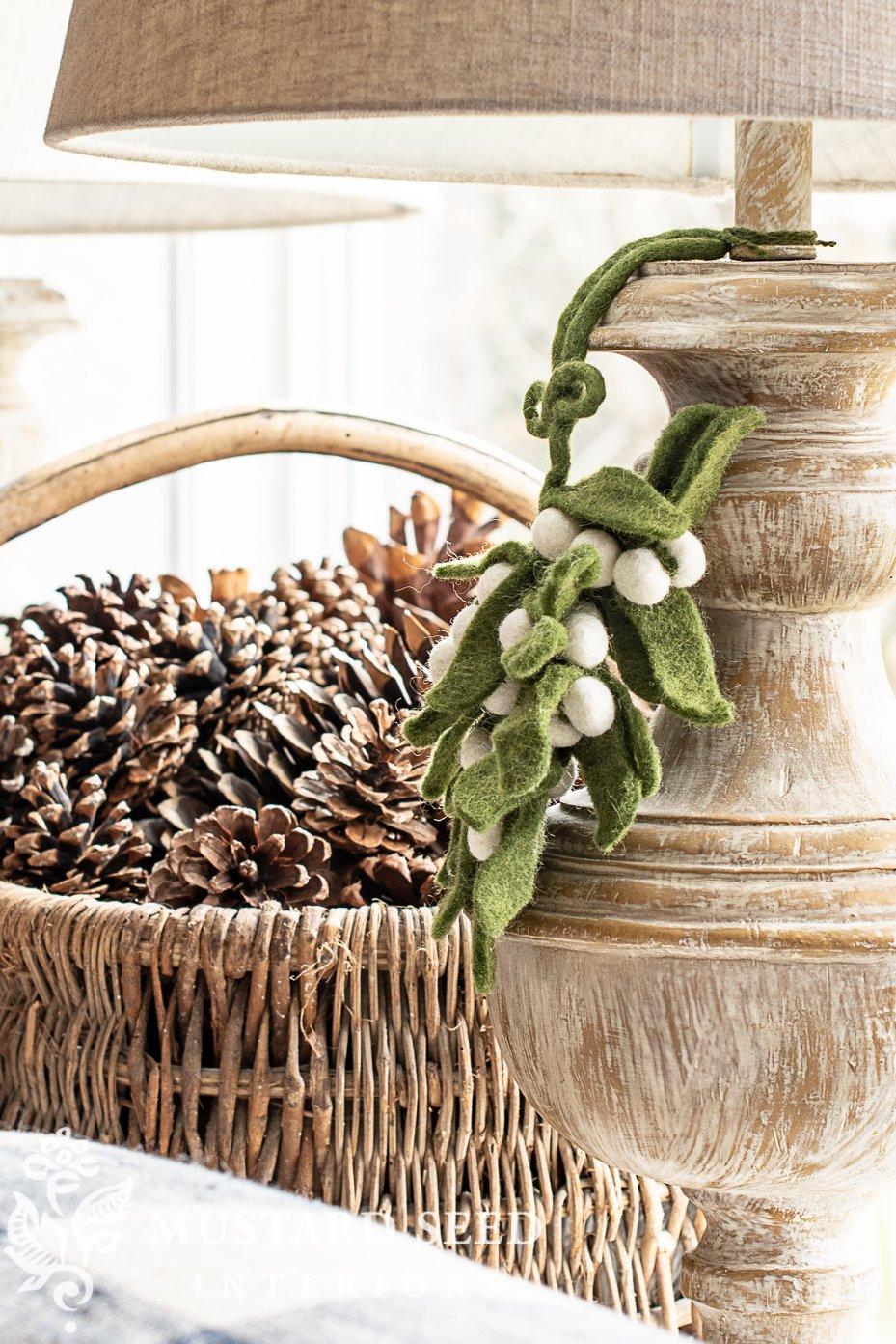 blue and white christmas living room | felt mistletoe | miss mustard seed