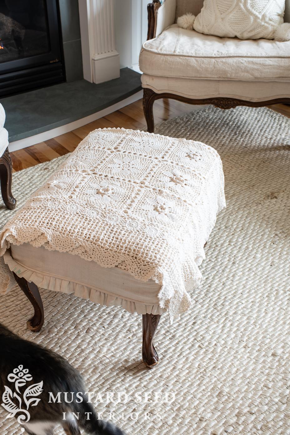 crochet blanket | cream woven jute area rug review | miss mustard